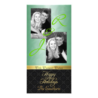 Green Foil Lace Holiday Gold Ribbon Photo Card