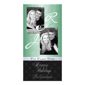 Green Foil Lace Holiday Ribbon Photo Card