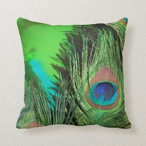 Green Foil Peacock Throw Pillow