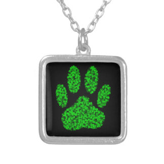 Green Foliage Dog Paw Print Silver Plated Necklace
