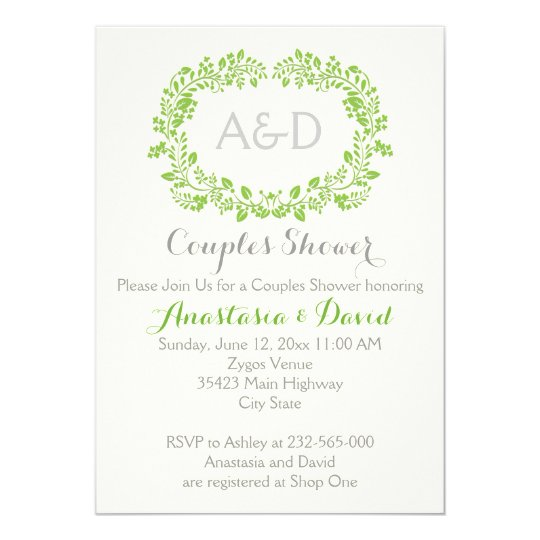 Green foliage initials wedding couples shower card