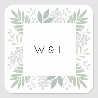 Green foliage monogram sticker | Square