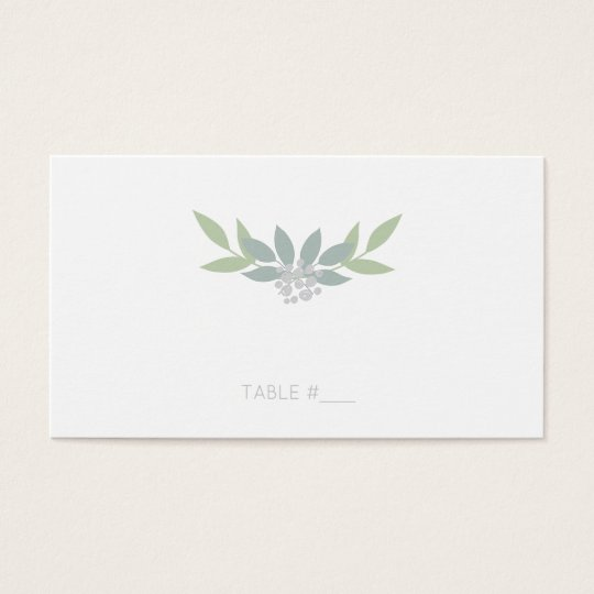 Green foliage place cards - flat