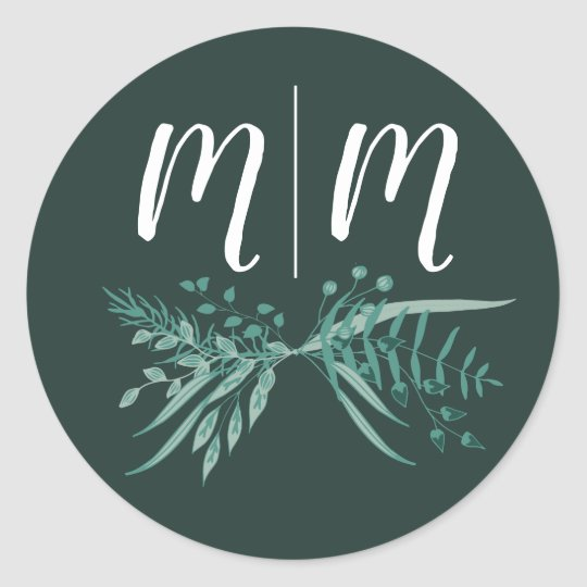 Green Foliage Sticker with Customisable Initials