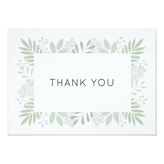 Green foliage thank you card - flat 5x7