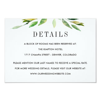 Green Foliage Wedding Details Enclosure Cards