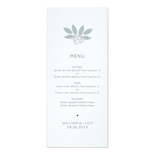 Green foliage wedding menu card