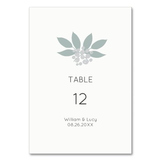 Green foliage wedding table number