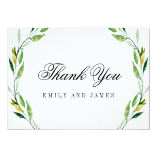 Green Foliage Wedding Thank You Cards