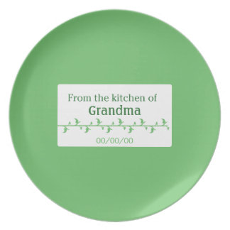 Green Food Label Dinner Plate