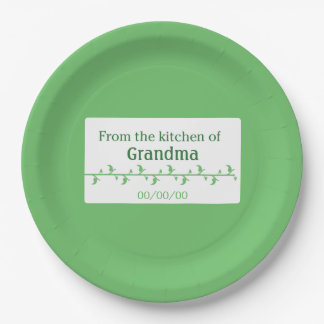 Green Food Label Paper Plate