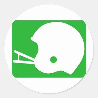 Green Football Helmet Logo Round Sticker