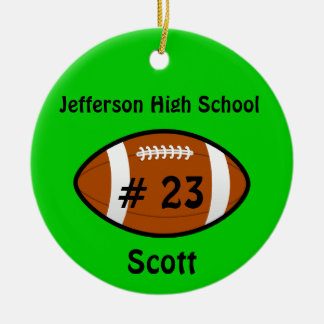 Green Football number Ornament