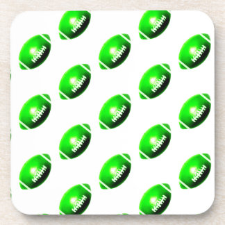 Green Football Pattern Coaster