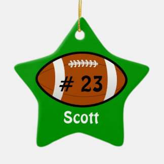 Green Football Star Ornament