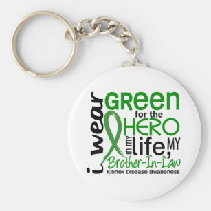 Green For Hero 2 Brother-In-Law Kidney Disease Key Ring