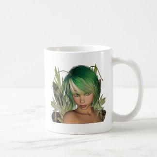 Green Forest Fairy 3D Close-Up Basic White Mug