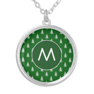 Green forest pattern round pendant necklace