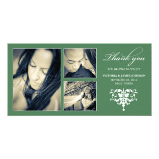 GREEN FORMAL COLLAGE   WEDDING THANK YOU CARD CUSTOM PHOTO CARD