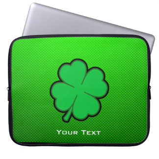 Green Four Leaf Clover Laptop Sleeve