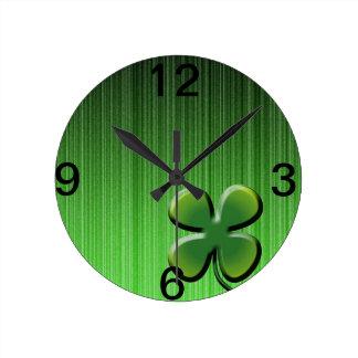 Green Four Leaf Clover Round Clock