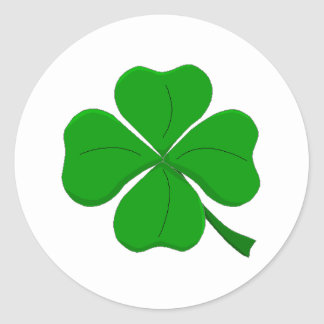 Green Four-Leaf-Clover Round Sticker
