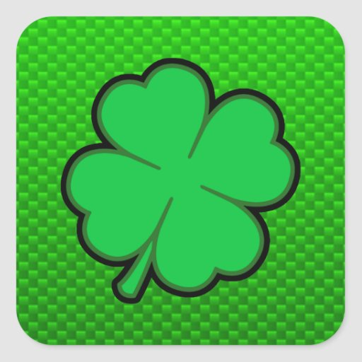 Green Four Leaf Clover Square Stickers