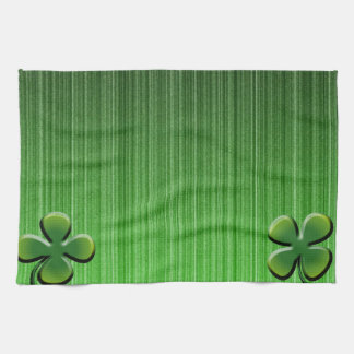 Green Four Leaf Clover Tea Towel