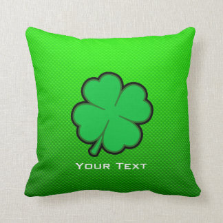 Green Four Leaf Clover Throw Pillow