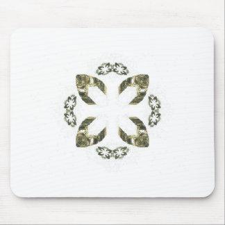 Green Four Petal Fractal Art Design Mouse Pad