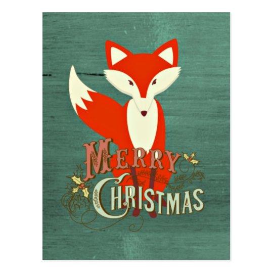 Green Fox Merry Christmas Card Postcard