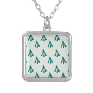 Green foxglove silver plated necklace