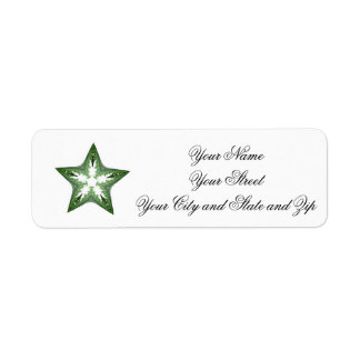 Green Fractal Art Star Label