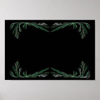 Green Fractal Floral Border Canvas or Poster