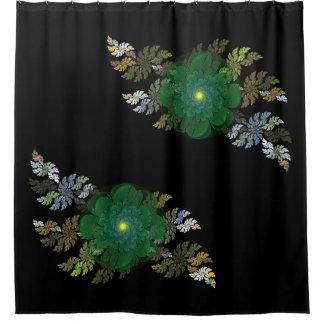 Green Fractal Flowers Shower Curtain