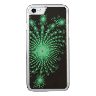 Green Fractal Islands on Black - abstract art Carved iPhone 7 Case