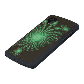 Green Fractal Islands on Black - abstract art Carved® Maple Nexus 5 Slim Case