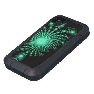 Green Fractal Islands on Black - abstract art iPhone4 Case