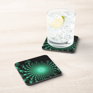 Green Fractal Islands on Black - abstract art Coasters