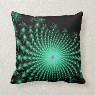 Green Fractal Islands on Black - abstract art Throw Pillow
