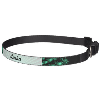 Green Fractal Islands on Black - abstract art Dog Collar