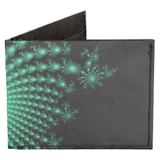 Green Fractal Islands on Black - abstract art Tyvek® Billfold Wallet