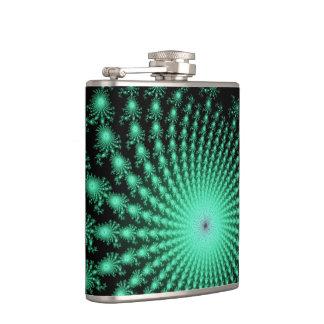 Green Fractal Islands on Black - abstract art Hip Flask
