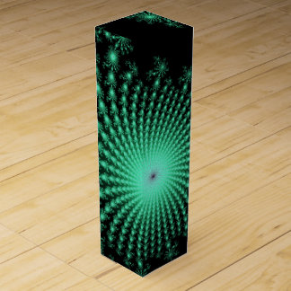 Green Fractal Islands on Black - abstract art Wine Gift Boxes