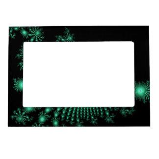 Green Fractal Islands on Black - abstract art Frame Magnet