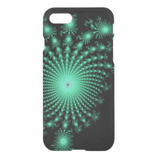 Green Fractal Islands on Black - abstract art iPhone 7 Case