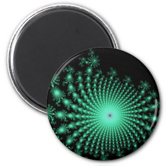 Green Fractal Islands on Black - abstract art Magnets