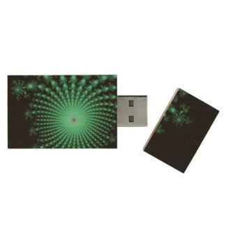 Green Fractal Islands on Black - abstract art Wood USB 3.0 Flash Drive