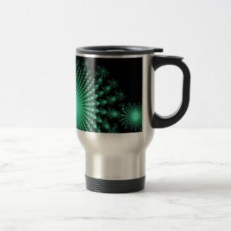 Green Fractal Islands on Black - abstract art Coffee Mugs