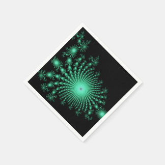 Green Fractal Islands on Black - abstract art Paper Napkins
